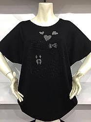 Женская качественная футболка черного цвета с коротким рукавом Турция
