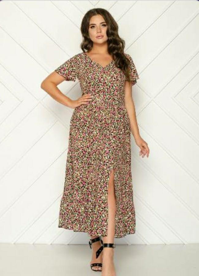 Жіноче плаття батал, штапель, р-р 48; 50; 52; 54 (чорний+рожевий)
