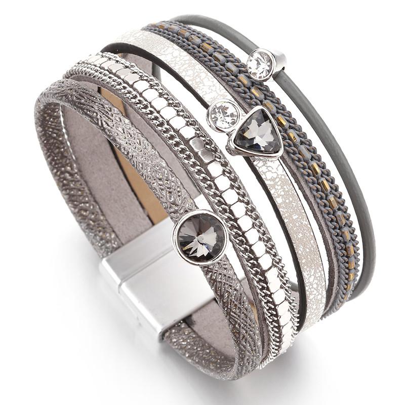 Модный женский широкий многослойный кожаный браслет серый с камнями в богемном стиле