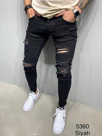 Джинсы мужские черные стильные рваные зауженные Турция, фото 2