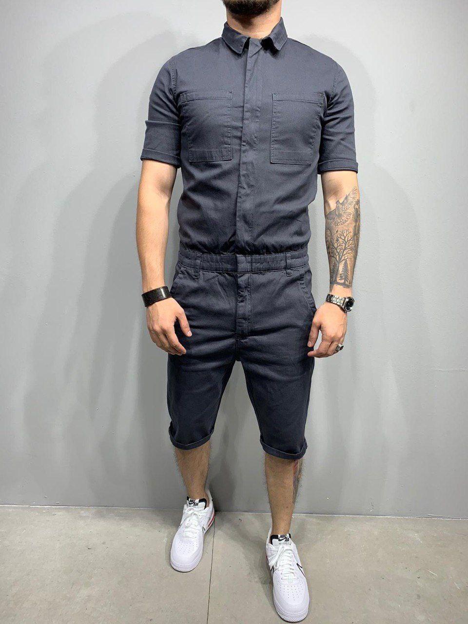 Комбинезон-шорты+рубашка мужской джинсовый серый