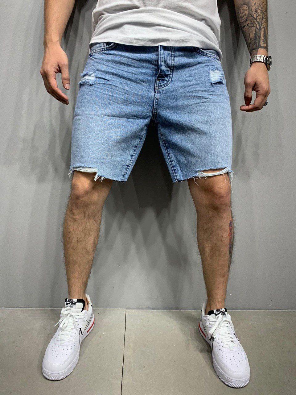 Шорти чоловічі джинсові блакитні рвані вільні