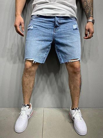 Шорти чоловічі джинсові блакитні рвані вільні, фото 2