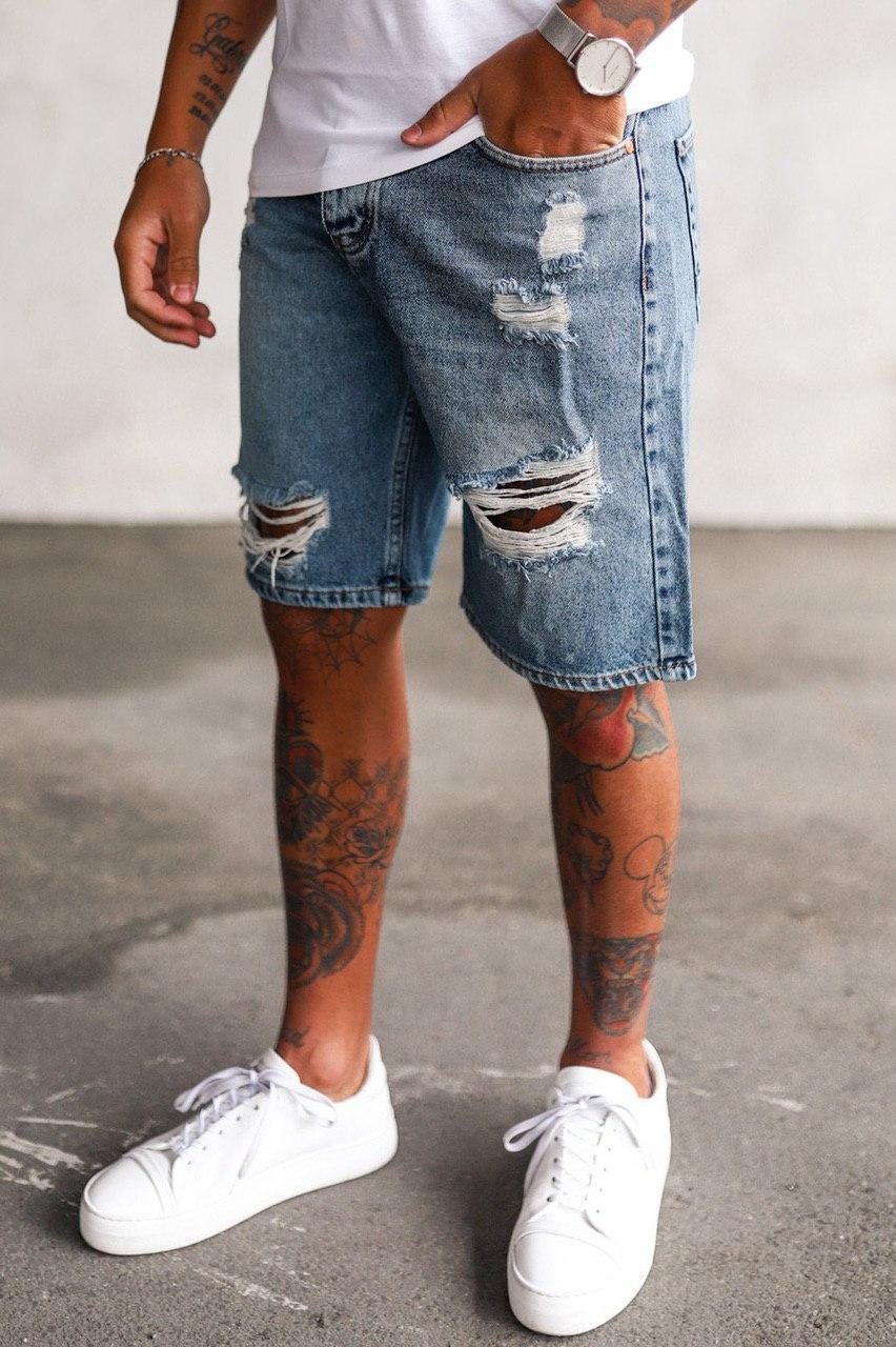 Шорты мужские джинсовые синие рваные по колено Турция