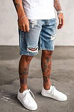 Шорты мужские джинсовые синие рваные по колено Турция, фото 3