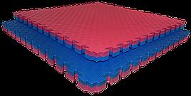 Татами мат (ласточкин хвост пазл) EVA 1х1м толщина 40 мм 80 кг/м3 (красно-синяя)