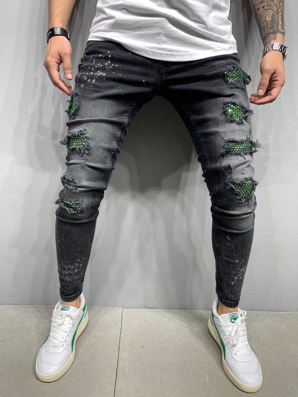 Джинсы мужские тёмно-серые рваные стильные зауженные с зелёными  змеинными вставками Турция