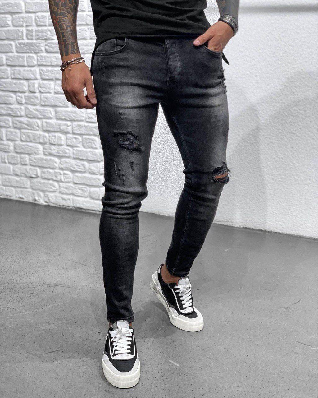 Джинси чоловічі чорні з потертостями завужені рвані стильні Туреччина