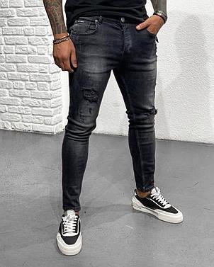 Джинси чоловічі чорні з потертостями завужені рвані стильні Туреччина, фото 2