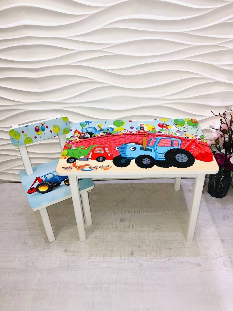 """Комплект стіл, 1 стілець дитячий """"Синій трактор"""""""