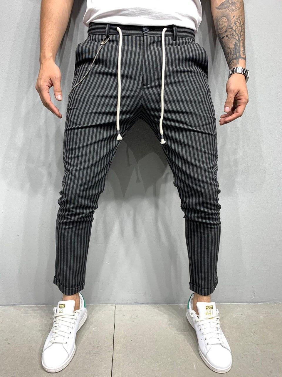 Брюки мужские стильные укороченные черные в серую полоску
