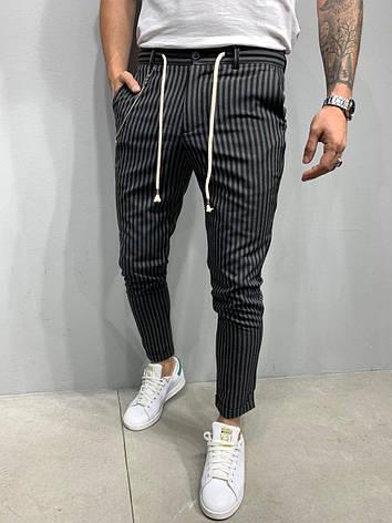 Брюки мужские стильные укороченные черные в серую полоску, фото 2