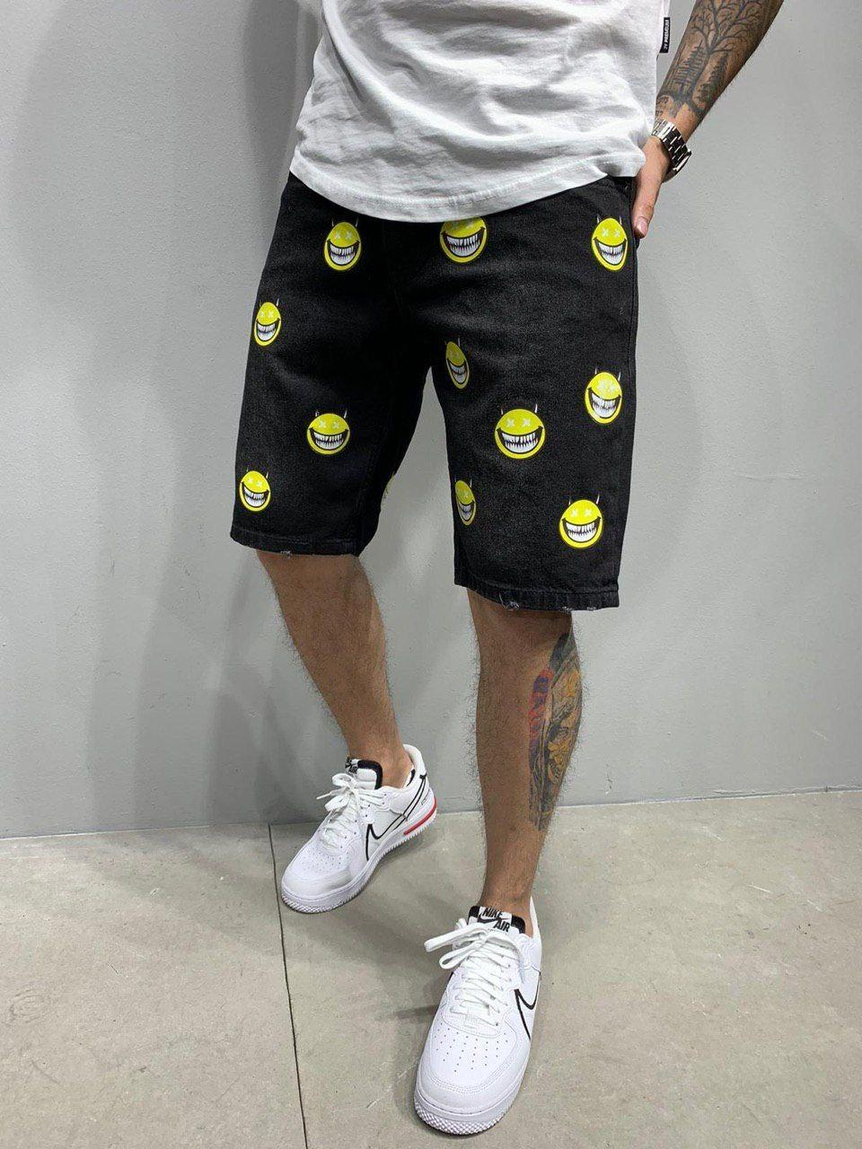 Чоловічі джинсові вільні шорти за коліно, чорні з принтом