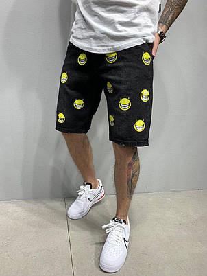 Чоловічі джинсові вільні шорти за коліно, чорні з принтом, фото 2