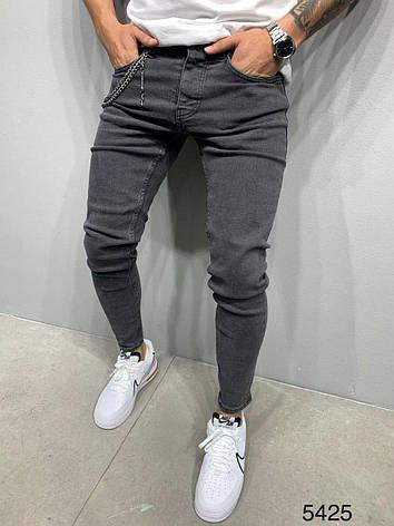 Джинси чоловічі сірі темні стильні молодіжні завужені, фото 2