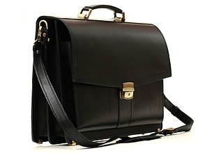 Деловой повседневный мужской кожаный портфель ручной работы с плечевым ремнем. Цвет черный