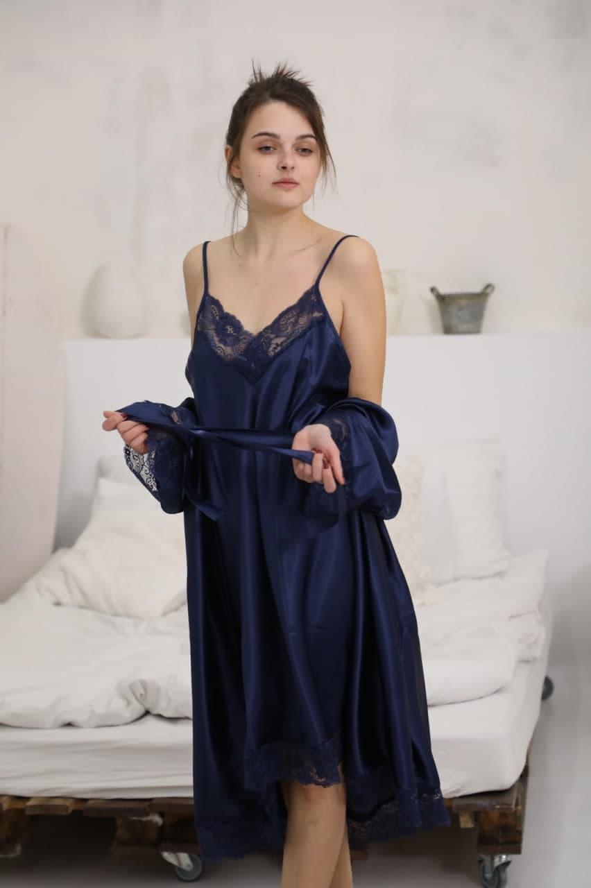 Комплект халат с рубашкой больших размеров Jasmine атлас Турция