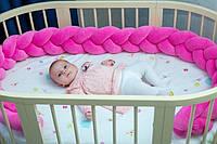 """Защитный бортик в кроватку """"Косичка"""" 360 см (розовый) хлопковый велюр"""