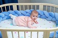 """Защитный бортик в кроватку """"Косичка"""" 240 см (лазурный) хлопковый велюр, фото 1"""