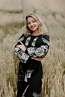 Льняное платье-вышиванка, черное, арт. 4529