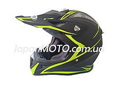 Шлем кроссовый HF-116 (size: L, черный-матовый с зеленым рисунком)