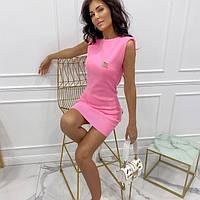 Жіноче стильне міні плаття без рукавів зі значком