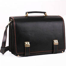 Деловой оригинальный мужской кожаный портфель ручной работы с плечевым ремнем черный с коричневой нитью