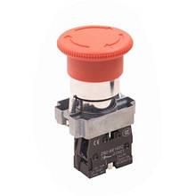 """Кнопка управління XB2-ВЅ542 натискна з фіксацією і поворотом червона """"Стоп"""""""