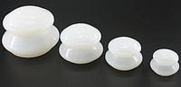 Набор силиконовых вакуумных массажных банок 4 шт, антицеллюлитные белые банки для массажа тела