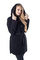 Размер - 48,50,52,54,56,58,60,62 Женское, модное кашемировое полу пальто на пуговицах с поясом. Черное