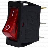 Переключатель с подсветкой узкий IRS-101-1С (ON-OFF), 3pin, 15A, красный