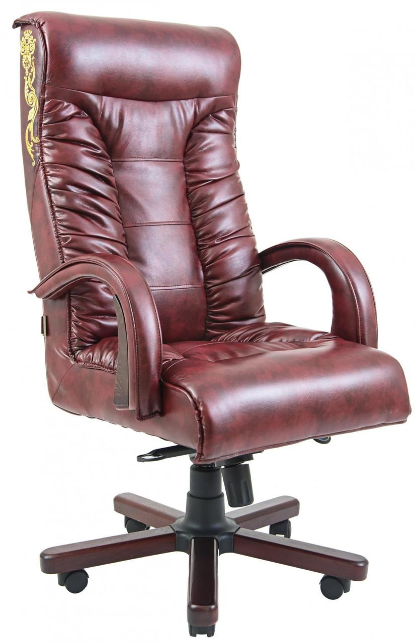 Офисное Кресло Руководителя Onyx Мадрас Bordo Wood Принт М3 MultiBlock Бордовое