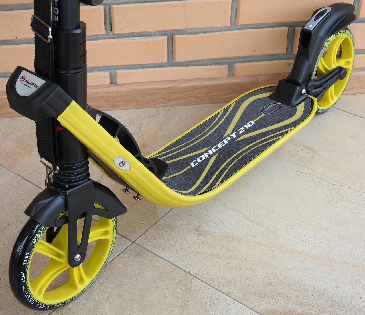 Самокат складной Maraton Concept 210 c ручным тормозом, с большими колесами, c амортизаторами