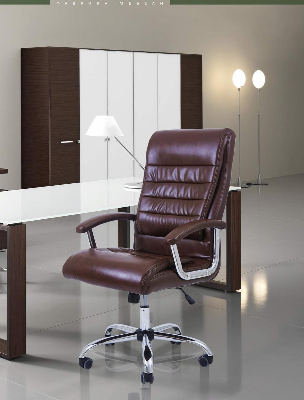 Офисное Кресло Руководителя Princeton Мадрас Хром М3 MultiBlock Коричневое