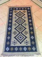 Доріжка килим двосторонній котон синя 143*74
