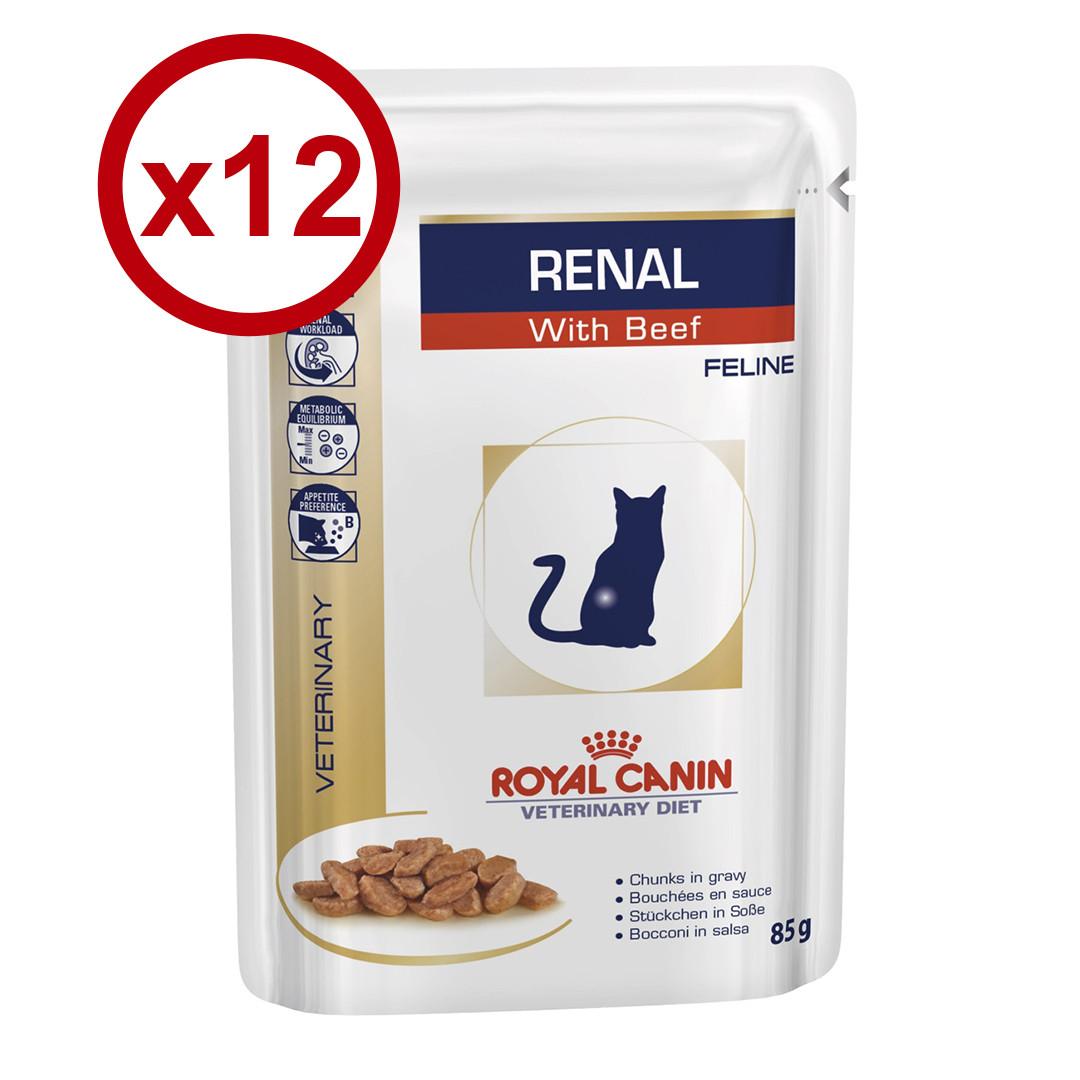 Royal Canin Renal Feline 85гр *12шт паучи з яловичиною -дієта при нирковій недостатності у кішок