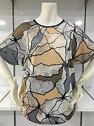 Женская свободная футболка в большом размере с коротким рукавом