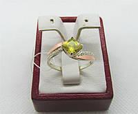 """Серебряное кольцо с золотой пластиной """"Квадро"""", фото 1"""
