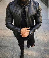 Косуха мужская чёрная на молнии кожаная стильная на меховой подкладке осенняя зимняя Турция