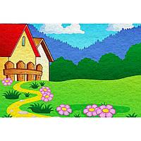 """Фетр с рисунком принтом игровой фон """"Дом"""" ИФ037, фото 1"""