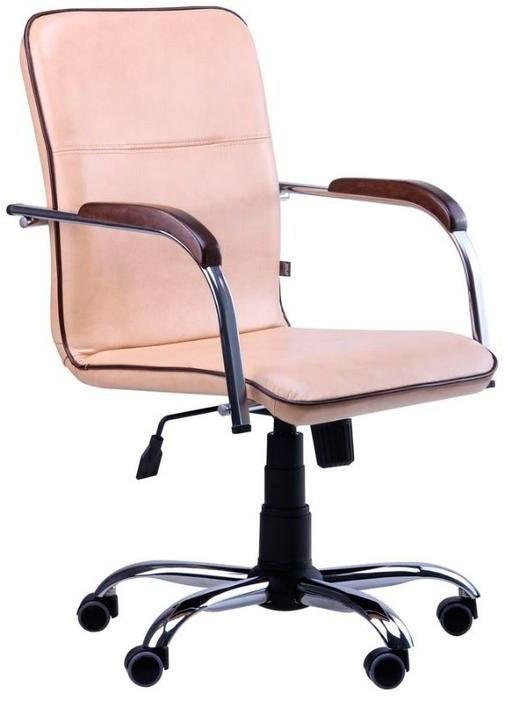 Офисное Кресло Руководителя Samba Zeus Deluxe Coffee Milk Хром М3 MultiBlock Бежевое