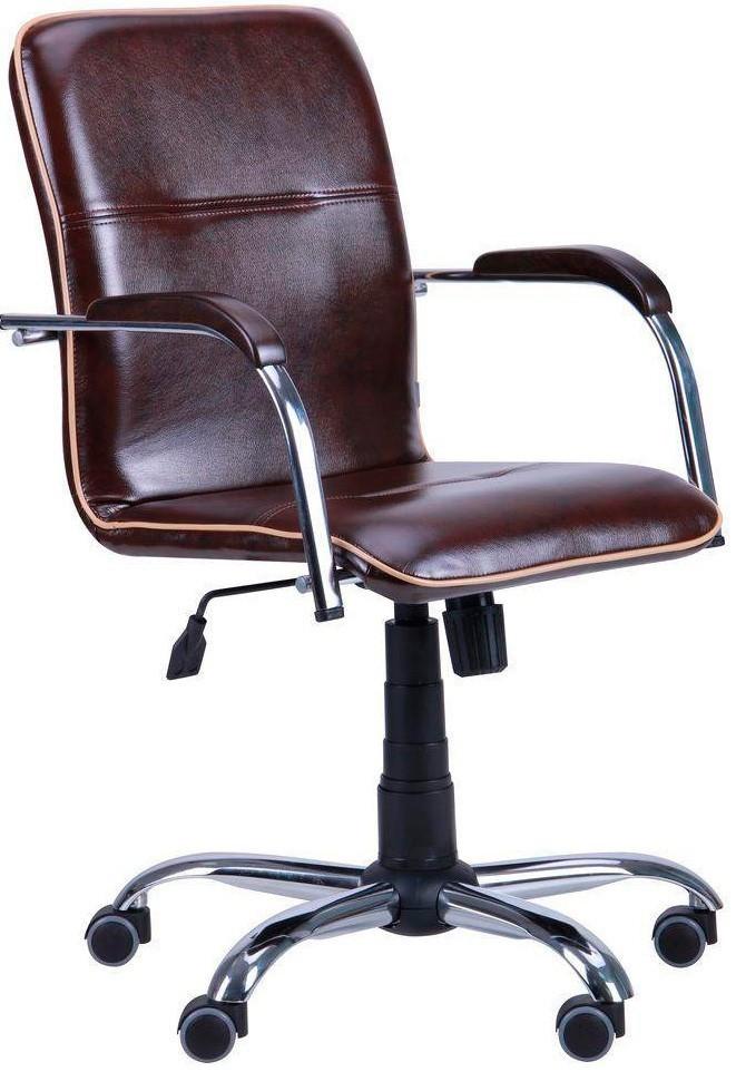 Офисное Кресло Руководителя Samba Мадрас Dark Brown Хром М3 MultiBlock Коричневое