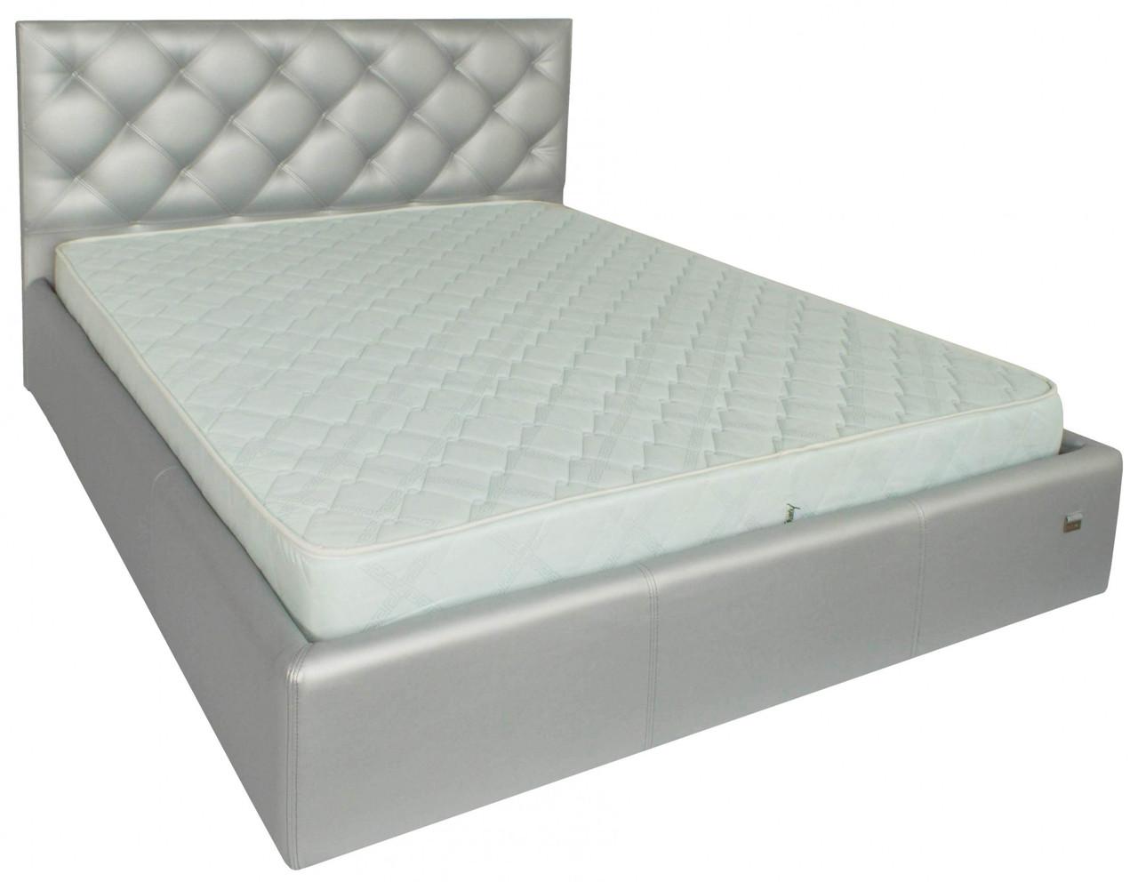 Ліжко Двоспальне Bristol Comfort 180 х 200 см Zeus Deluxe Silver З підйомним механізмом і нішею для білизни