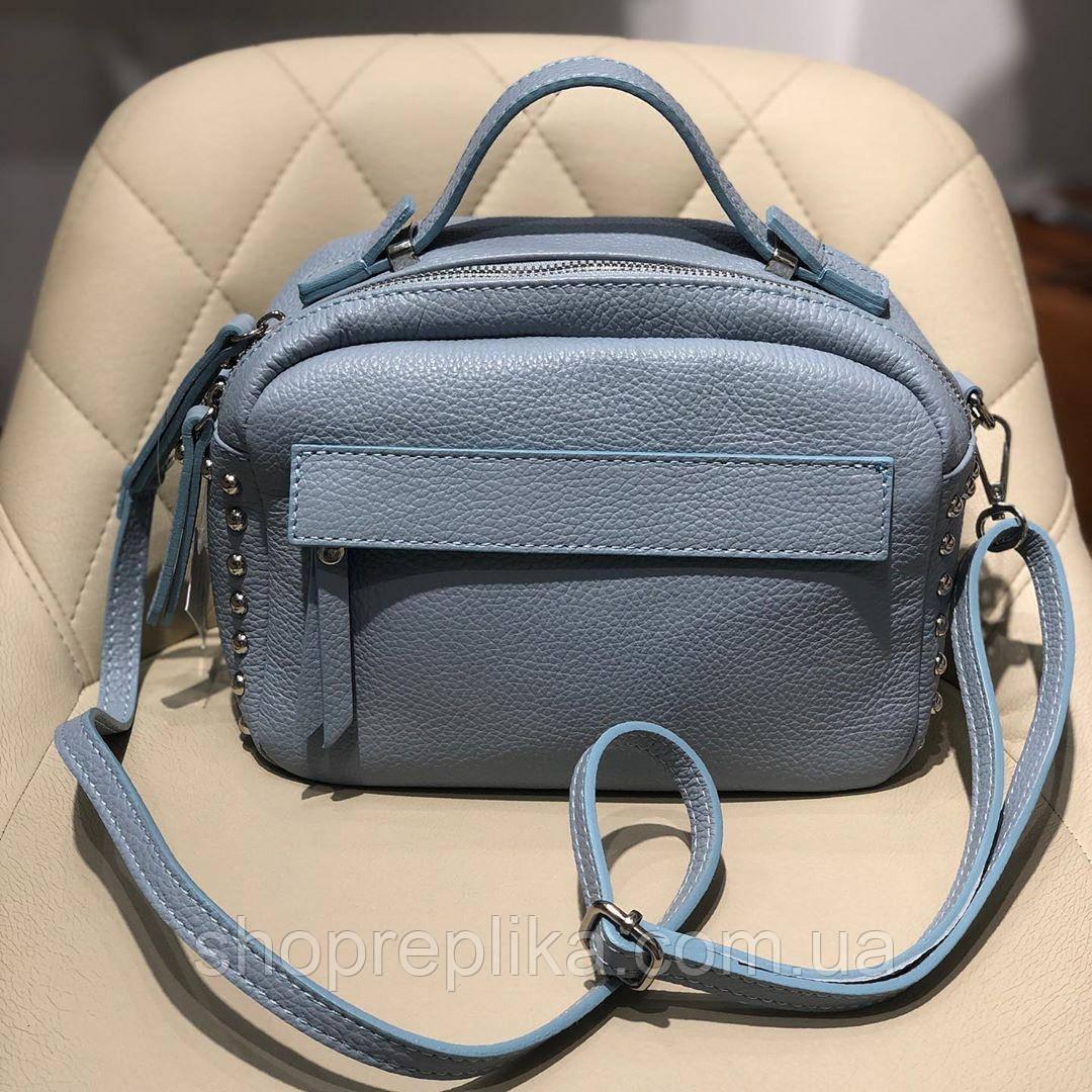 Сумка клатч через плече Італія натуральна шкіра Віра Пелле шкіряна блакитна сумка df2652A