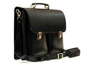 Деловой удобный мужской кожаный портфель ручной работы с плечевым ремнем. Цвет черный