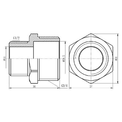 "Ниппель редукционный SD Forte 3/4""х1/2"" хром SF359H2015, фото 2"