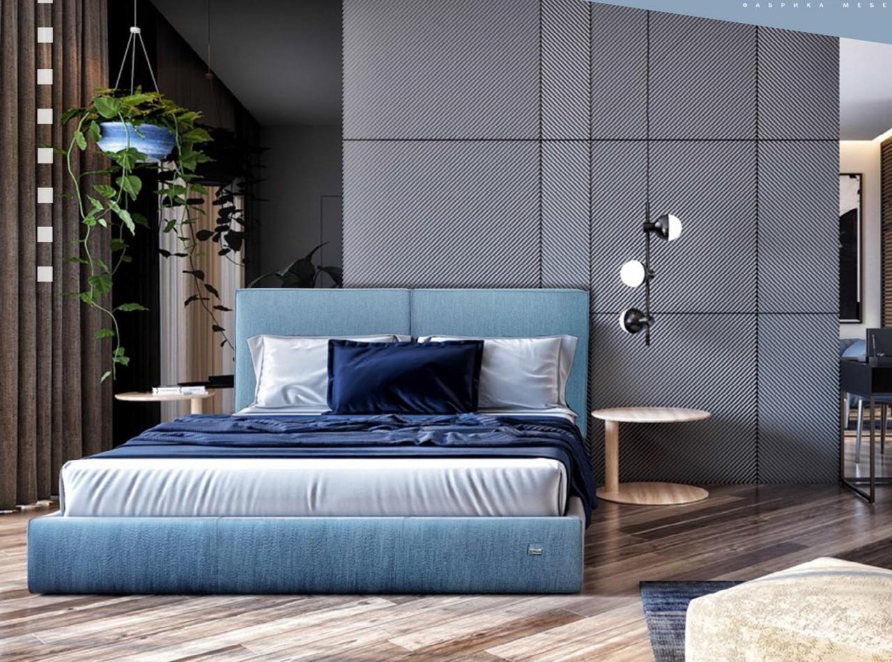 Ліжко Delhi Comfort 140 х 190 см Jeans З підйомним механізмом і нішею для білизни Синя