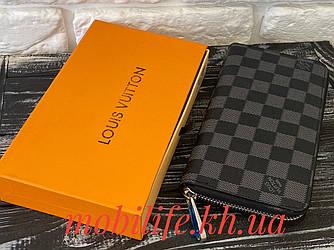 Стильний портмоне луї вітон,Unisex гаманець Louis Vuitton Чорний Zippy/Висока Якість/Копія