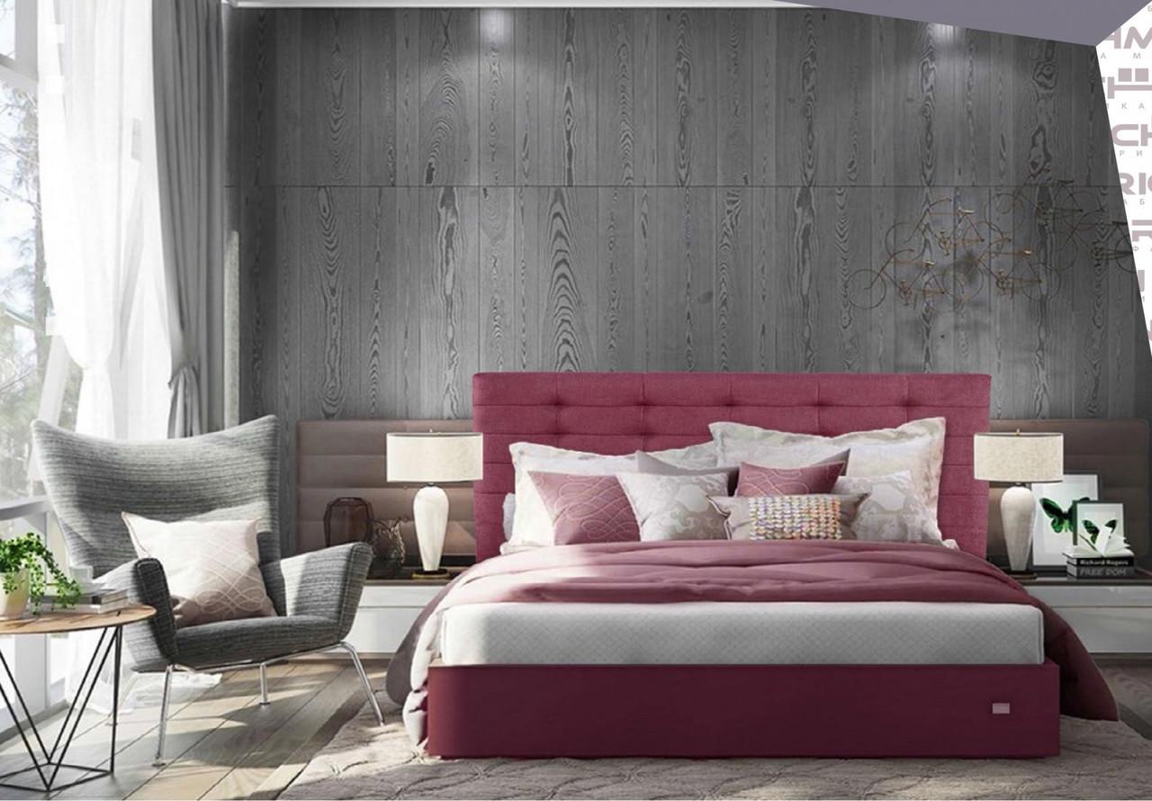 Кровать Двуспальная Erika VIP 180 х 200 см С дополнительной металлической цельносварной рамой Бордовая