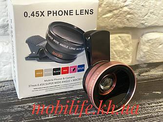 Об'єктив макро HD для телефону/Супер широкий Кут/2в1/Це кращий Об'єктив/Золотий з Рожевим/